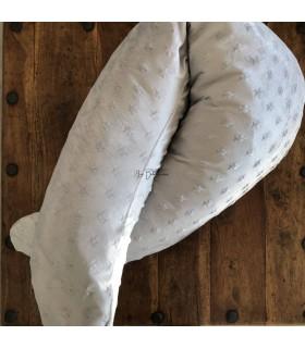 GRIS CLAIR A ETOILES - Coussin de maternité et housse minky