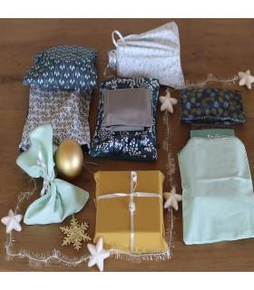 Lot de 10 poches cadeau tissu